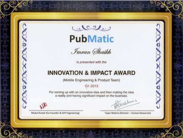 INNOVATION & IMPACT AWARD